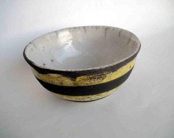 Raku ceramic bowl yellow - OOAK - europeanstreetteam