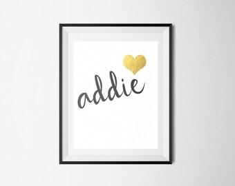 Modern Print Addie Print Gold Leaf Heart Baby Nursery