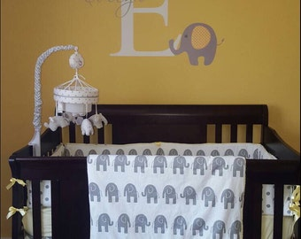 TODAY ONLY***Gray Elephant/dot/chevron and solid color crib bedding
