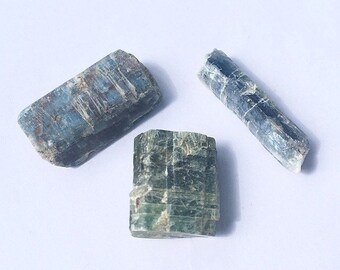 Kyanite Unpolished Blue Green Lot of 3 Raw Crystals