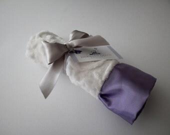 White Embossed Vine Mini Minky Blanket Finished with an Elegant and Soft Lavender Satin Ruffle Trim - Purple,  Lovey, Lovie, Baby Blanket
