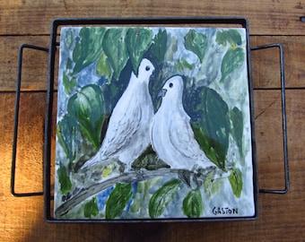 Vintage Hand Painted Bird Trivet - Dove Folk Art Tile Trivet