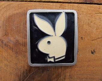 Vintage Metal Playboy Buckle -  Playboy Belt Buckle - 1980's Playboy Buckle