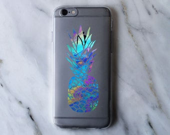 Colorful Pineapple Print Clear iPhone Case - iPhone 5 5S 6 6S 6 Plus Case