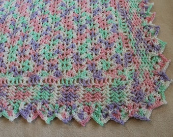 Crochet baby blanket, multi-coloured baby blanket, baby girl afghan, feminine baby blanket, pink,mauve,green and white baby blanket