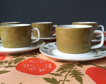 Mikasa Mediterrania Avocado Green Cups and Saucers, Set for SIX, Vintage Tableware