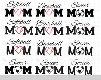 Baseball Softball and Soccer Mom  - .svg/.eps/.dxf/.ai for Silhouette Studio, Cricut, or other cutting software