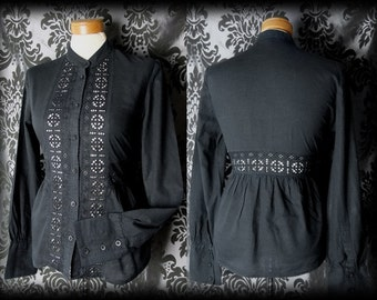 Gothic Black Cotton Lace ARISTOCRATIC High Neck Governess Blouse 10 12 Victorian