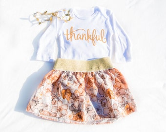 Thankful bodysuit/ Thanksgiving Outfit/ Thankful skirt and bodysuit/ Thanksgiving skirt/ Thanksgiving set/ My first Thanksgiving