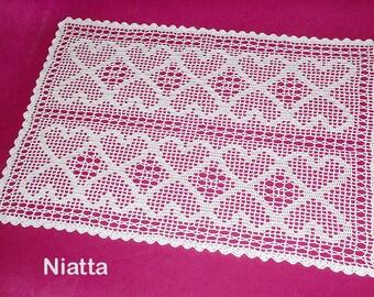 Rectangular Filet Doily Crochet Heart White Wedding Gift Handmade Lace Runner Fine Thread Niatta