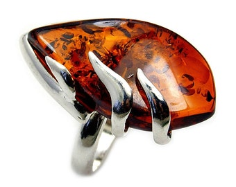 Sterling Silver Natural Cognac Baltic Amber Ring Size 5.5 ,  Z512 Jewelry Gift
