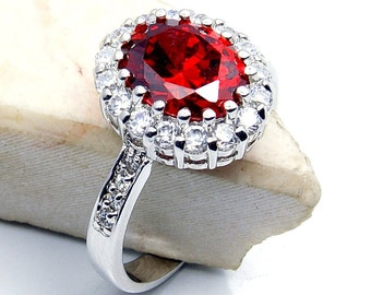 Red Cubic Zirconia & .925 Sterling Silver Ring Size 5.75, 6.75, 8.75 Jewelry , W149, W146, W148