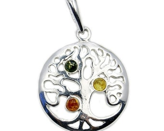 Tree Of Life Natural Green, Honey Baltic Amber & .925 Sterling Silver Pendant , Ad601