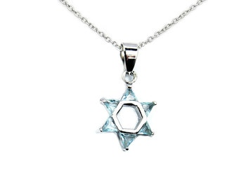 Jewish Star of David Light Blue CZ & .925 Sterling Silver Pendant Necklace, T74X16