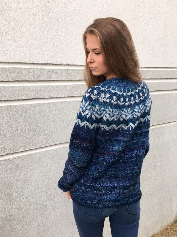Cashmere Sweater Blue Sweater Fair Isle Sweater Merino By