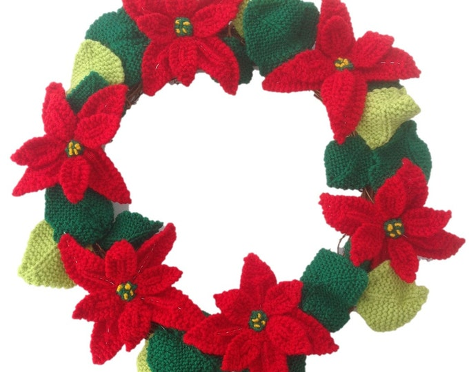 Knitted Poinsettia Christmas Wreath,  Knitting pattern for poinsettias, Christmas flowers, Christmas wreath, Front door Christmas wreath