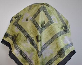 Vintage PRINTED SILK SCARF , small silk scarf , hand rolled silk scarf....(091)