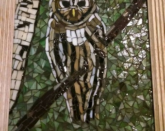 Mosaic Stained Glass Owl 8x10