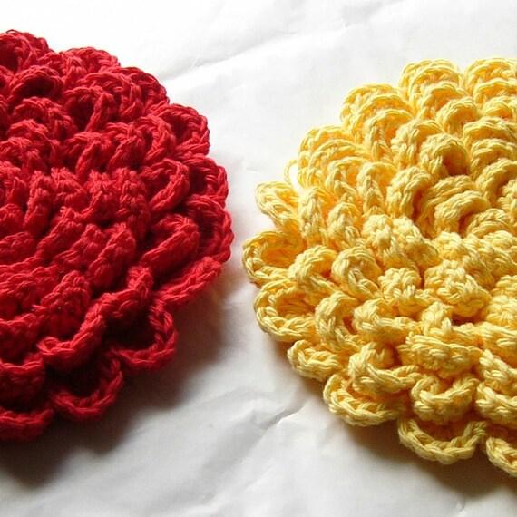 crochet pattern grand fleur flower blossom pot holder hot pad tea hotpad potholder worsted. Black Bedroom Furniture Sets. Home Design Ideas