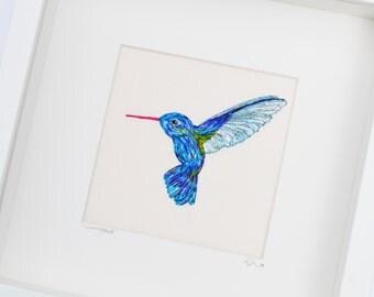 Hummingbird Hand Embroidery Silk  Framed Textile Original Art 10 x 10 inches
