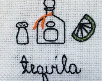 Tequila Decoration- Tequila Cross Stitch- Tequila Needlepoint- Tequila Fiberart- Tequila Decoration- Patron Decoration- Patron- Tequila