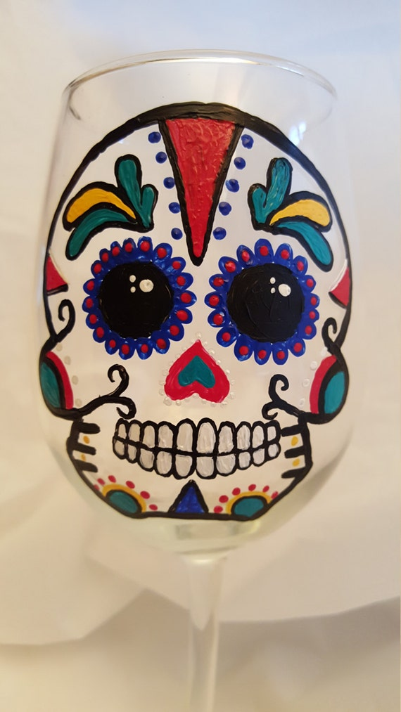 Decorated Wine Glass, Sugar Skull Glass, Painted Wine Glass, Custom Wine Glass, Hand Painted								<a href=