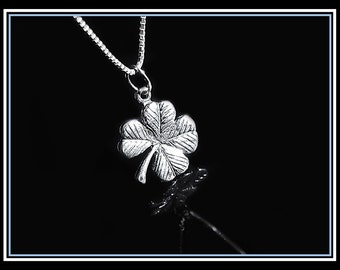 Clover Necklace, Sterling Silver Four Leaf Clover Necklace, Shamrock Necklace, Good Luck Necklace