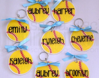 "Personalized  3"" Softball Key Chain~ Bag Tag....Party Favor/ Team Gifts .... Custom"