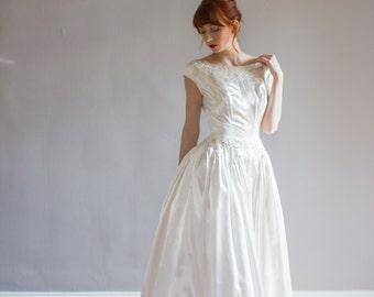 Satin 1950's beaded cap sleeve wedding gown / ballgown / slipper satin / XS