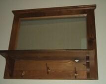Reclaimed Wormy American Chestnut Entry Hall Mirror, Coat, Keys or Hat Rack, Shelf