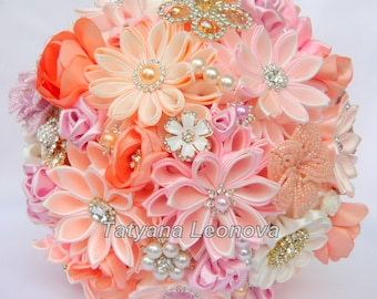 Wedding Bouquet, brooch bouquet, Pink, Ivory and Peach