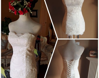 Lace wedding dress top - Lace bodice, corset back