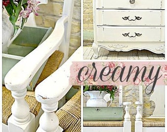 Sweet Pickins Milk Paint | Color - CREAMY | Farmhouse Cottage | Chippy | Rustic | Primitive | Furniture Paint | Home Decor | White