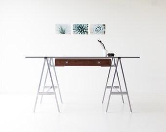 modern desk, walnut modern desk, modern glass desk, walnut desk, glass top desk