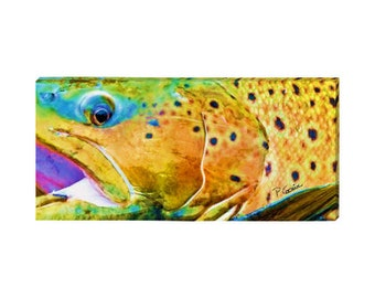 "Fly Fishing brown trout watercolor print on canvas: 14x30"" couch trout art on canvas caught in the Gardiner River, Montana"