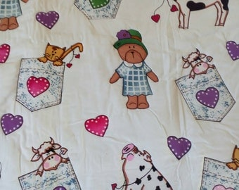 B Quilt #8 Mrs Bear and her Farm Family Baby Quilt