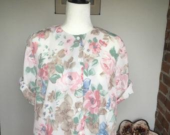 SALE Vintage 80s pastel floral blouse large