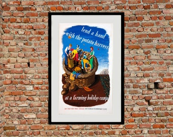 Lend A Hand - Reprint of a British WW2 Propaganda Poster