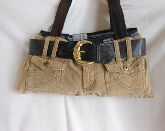 Tan Corduroy Purse/Tote Made From Recycled Pants and Boxers