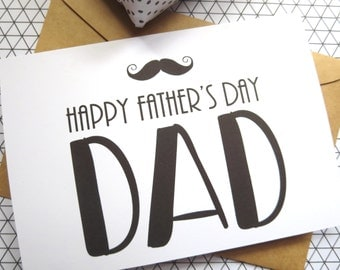 Happy Father's Day Card/ Moustache Card/ Dad Card - FDC01