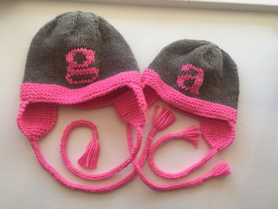 Hand-Knit Letter Hat with Earflaps for Baby/Child -  Shown in Gray/Bright Pink merino wool
