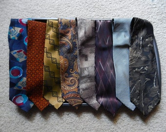 Lot of 8 Mens Neckties Neck Ties Hilfiger Lands End Hagger Robinson's Crazy Horse