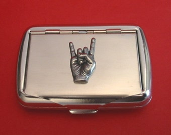 Rock On Chrome Tobacco Tin With Hand Cast Pewter Motif Rock Music Heavy Metal Music Gift Music Teacher Gift Smoking Accessories