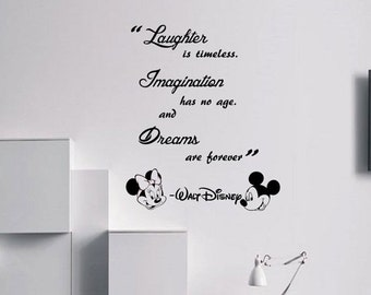 10% OFF walt Disney Laughter is timeless Wall Quote Mickey Minnie vinyl decal Stickers kids room