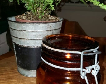 AMBER CROWNFORD canister jar. Made in Italy, canning jar.....Sale