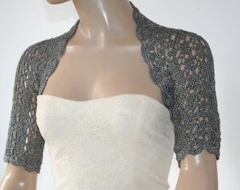 Wedding Bridal Bolero Shrug Lace Crochet Shrug Boleros Silk Vascose Dark Grey