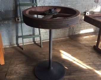 Industrial Bar Table Pulley W/ Cast Base Handmade Loft Piece With or Without Glass