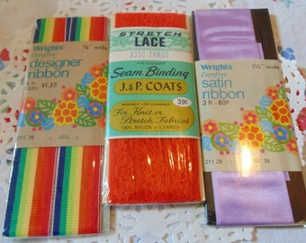 Vintage Trims New In Package Designer Ribbon Seam Binding Sewing Notions