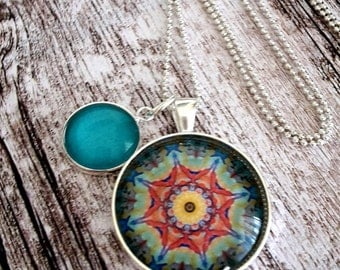 SALE! silver summer star Pendant/cabochon/trendingjewellery/silvernecklace/necklace/jewellery/mandala/giftideas/vintagenecklace/tealnecklace