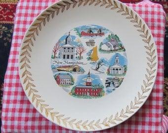 "Vintage New Hampshire Decorative China Plate 10 1/4"""